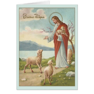 Vintage Italian Religious Easter Greeting Card