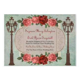 Vintage Italian Street Lamps And Roses 5x7 Paper Invitation Card
