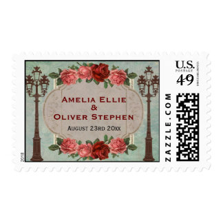 Vintage Italian Street Lamps And Roses Stamp
