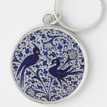 Vintage Italian-Style Blue-Gold Love-Birds Keychain