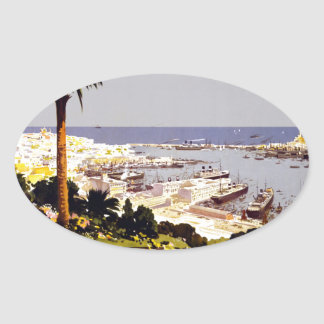 Vintage Italian Tourism Poster Scene Oval Sticker