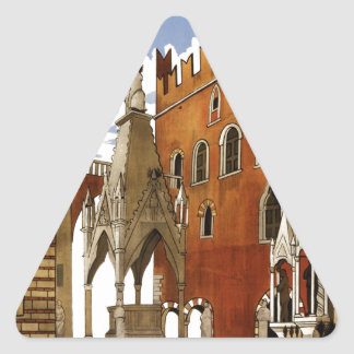 Vintage Italian Travel Poster to Verona Triangle Sticker