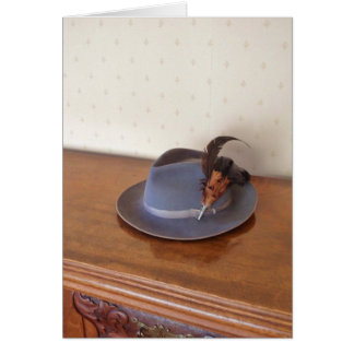Vintage Italian Trilby With Feathers Card