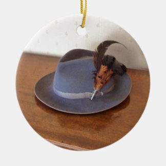 Vintage Italian Trilby With Feathers Ceramic Ornament