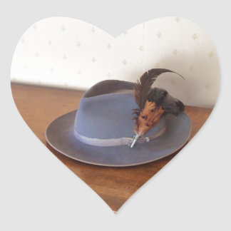 Vintage Italian Trilby With Feathers Heart Sticker