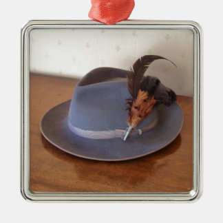 Vintage Italian Trilby With Feathers Metal Ornament