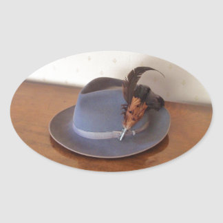 Vintage Italian Trilby With Feathers Oval Sticker