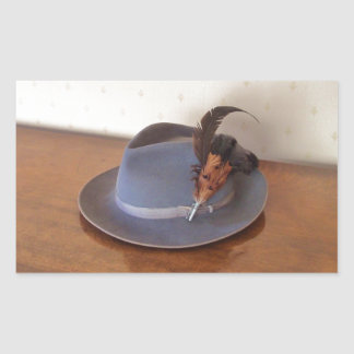 Vintage Italian Trilby With Feathers Rectangular Sticker