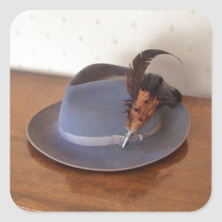 Vintage Italian Trilby With Feathers Square Sticker