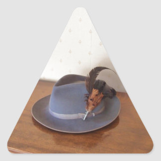 Vintage Italian Trilby With Feathers Triangle Sticker