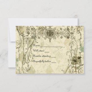 Vintage Italian Verdigris rsvp with envelopes
