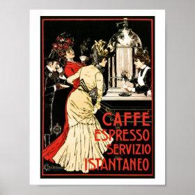Vintage Italian Victorian coffee espresso ad Posters