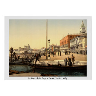 Vintage Italy, 19th century Venice, Doges' Palace Poster
