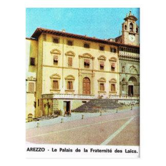 Vintage Italy,  Arezzo, Fraternity Palace Postcard