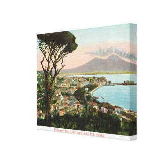 Vintage Italy, Bay of Naples and Mount Vesuvius Canvas Print