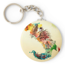 Vintage Italy Map City Travel Love Watercolor Keychain