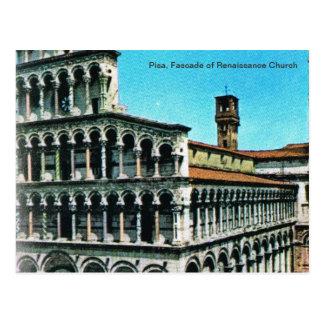 Vintage Italy, Pisa, Fascade of Rennaisance church Postcard