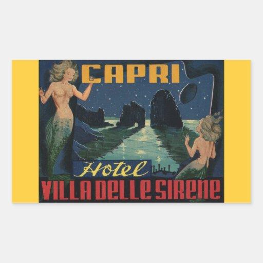 Vintage Italy Postcard ( Island of Capri ) Rectangular Sticker