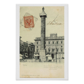 Vintage Italy, Roma Piazza Colonna, 1901 Poster