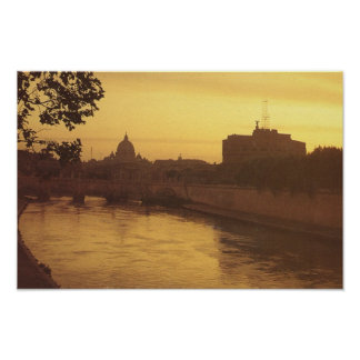 Vintage Italy, Rome, Castello Sant' Angelo Poster