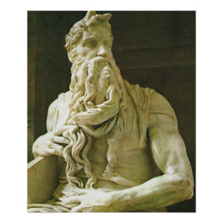 Vintage Italy, Rome Moses by Michelangelo, Poster