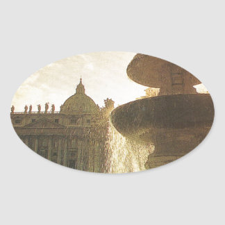 Vintage Italy, Rome, Vatican, St Peter's Oval Sticker