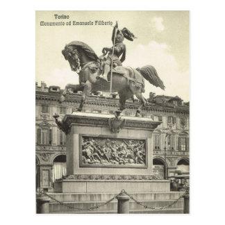 Vintage Italy, Torino, Monumento ad Emmanuele Postcard