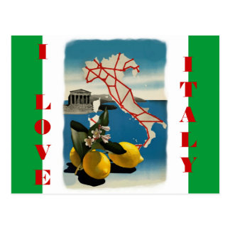 Vintage Italy Travel Post Card with Flag Colors