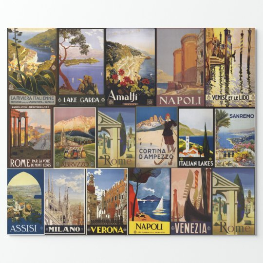 vintage italy travel poster collage gift wrap zazzle com