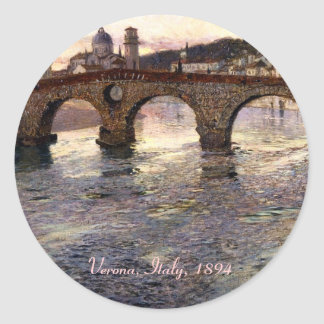 Vintage Italy (Verona, Circa 1894) Classic Round Sticker
