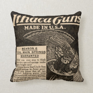 Vintage Ithaca Firearm Shotgun Home Decor Pillow