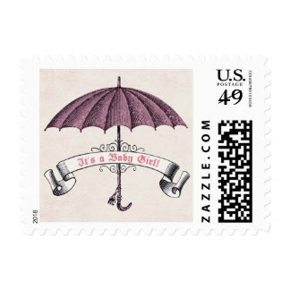 Vintage It's a Baby Girl Umbrella Postage Stamp