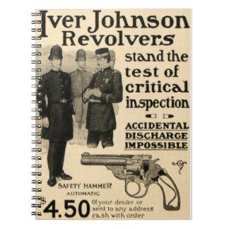 Vintage Iver Johnson Firearm Revolver Ad Notebook