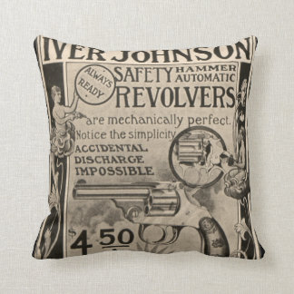 Vintage Iver Johnson Revolver Home Decor Pillow