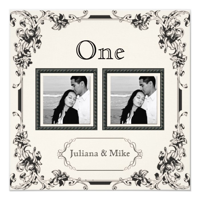 Vintage Ivory and Black Photo Table Number Card