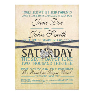Vintage Ivory and Blue Paper Wedding Invitation
