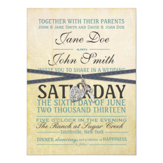 Vintage Ivory and Blue Paper Wedding Invitation