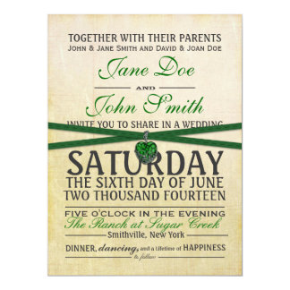 Vintage Ivory and Green Paper Wedding Invitation