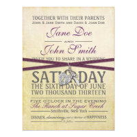 Vintage Ivory and Purple Paper Wedding Invitation