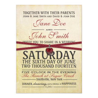 Vintage Ivory and Red Paper Wedding Invitation