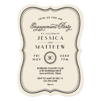 Vintage Ivory Art Deco Engagement Party 5x7 Paper Invitation Card