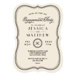 Vintage Ivory Art Deco Engagement Party 5x7 Paper Invitation Card