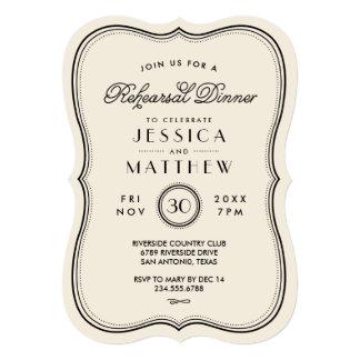 Vintage Ivory Art Deco Wedding Rehearsal Dinner 5x7 Paper Invitation Card