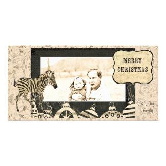 Vintage Ivory & Black  Zebra  Christmas Photo Card