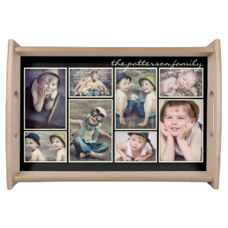 Vintage Ivory Framed Personalized Photo Collage Service Trays