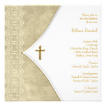 Vintage Ivory Gold Cross Baby Christening Announcement