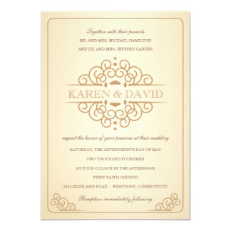 Vintage Ivory & Gold Formal Wedding Invitations