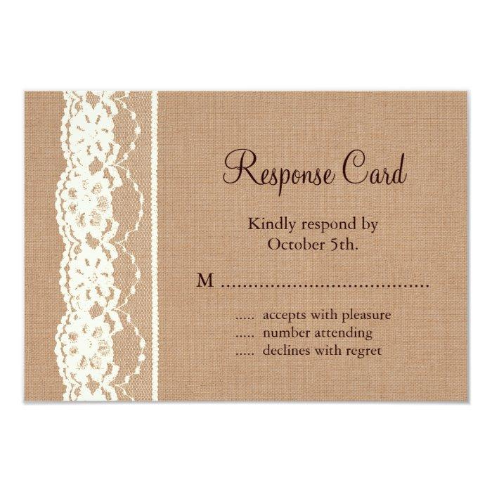 Vintage Ivory Lace and Medium Burlap RSVP Card