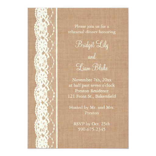 Vintage Ivory Lace & Med. Burlap Rehearsal Dinner 5x7 Paper Invitation Card