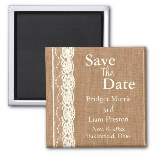 Vintage Ivory Lace & Med. Burlap Save the Date 2 Inch Square Magnet